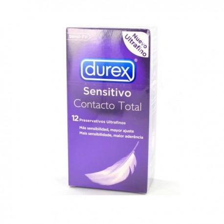 PRESERVATIVOS DUREX CONTACTO TOTAL 12 U MAS FINO
